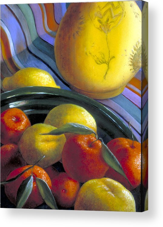 Oil Painting Acrylic Print featuring the painting Still Life With Citrus by Nancy Ethiel