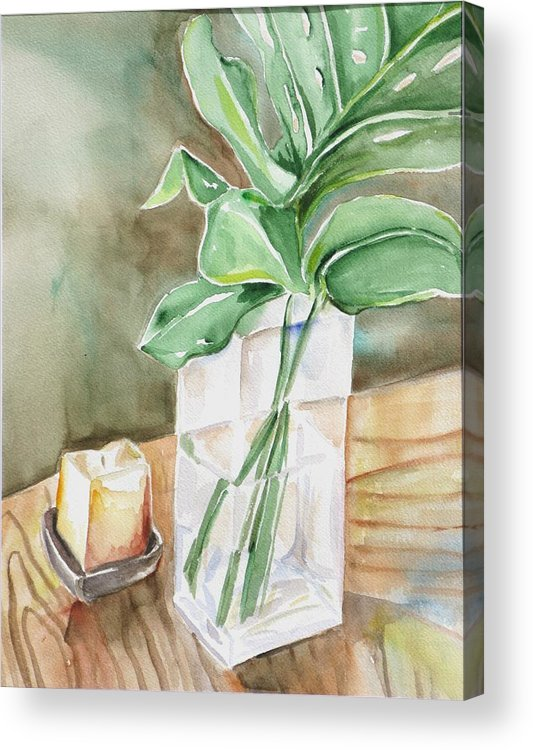 Still Life Acrylic Print featuring the painting Still Life With Leaf by Kathy Mitchell