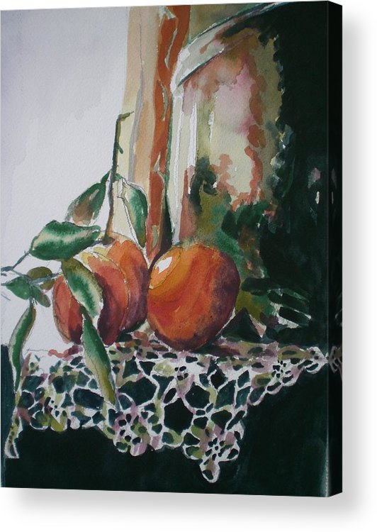 Oranges Acrylic Print featuring the painting Still Life With Oranges by Aleksandra Buha