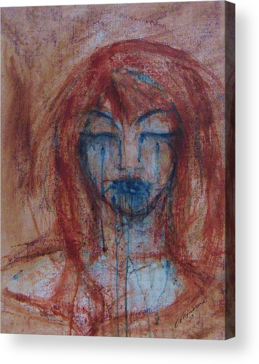Face Acrylic Print featuring the painting Stone Tears by Cathy Minerva