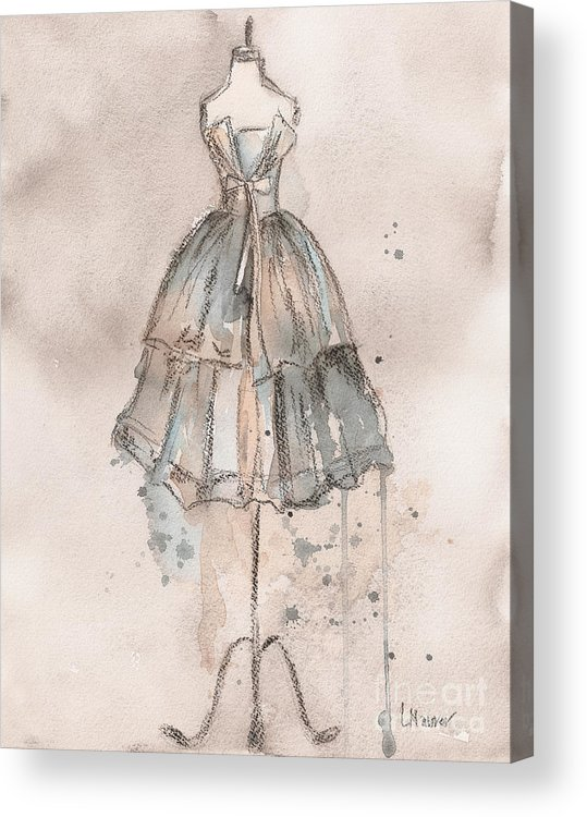 Vintage Dress Acrylic Print featuring the painting Strapless Champagne Dress by Lauren Maurer