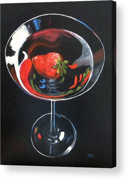 Bar Art Acrylic Print featuring the painting Strawberry Martini by Torrie Smiley