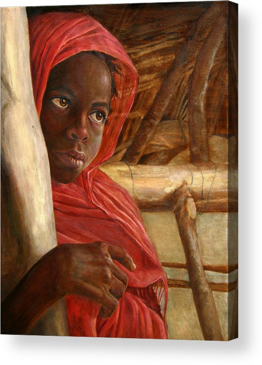 Children Painting Acrylic Print featuring the painting Sudanese Girl by Portraits By NC