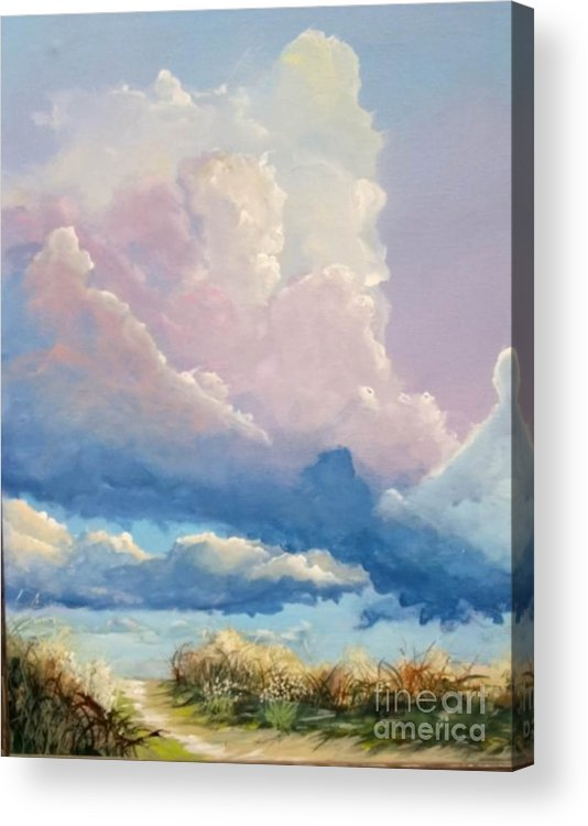 Landscape Acrylic Print featuring the painting Summer Clouds by John Wise