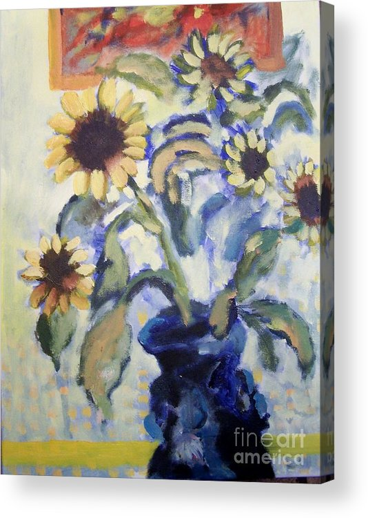 Flowers Acrylic Print featuring the painting Sunflowes by Geraldine Liquidano