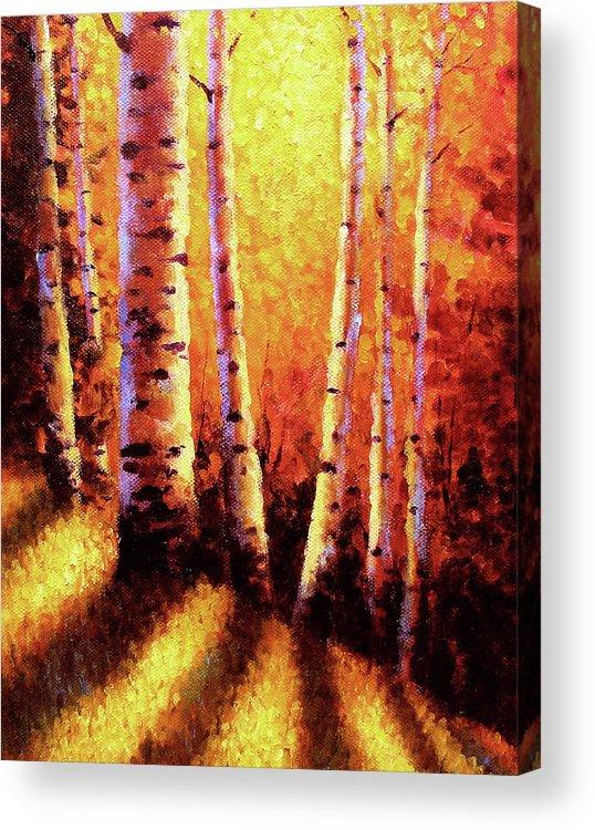 Sunlight Acrylic Print featuring the painting Sunlight Through The Aspens by David G Paul