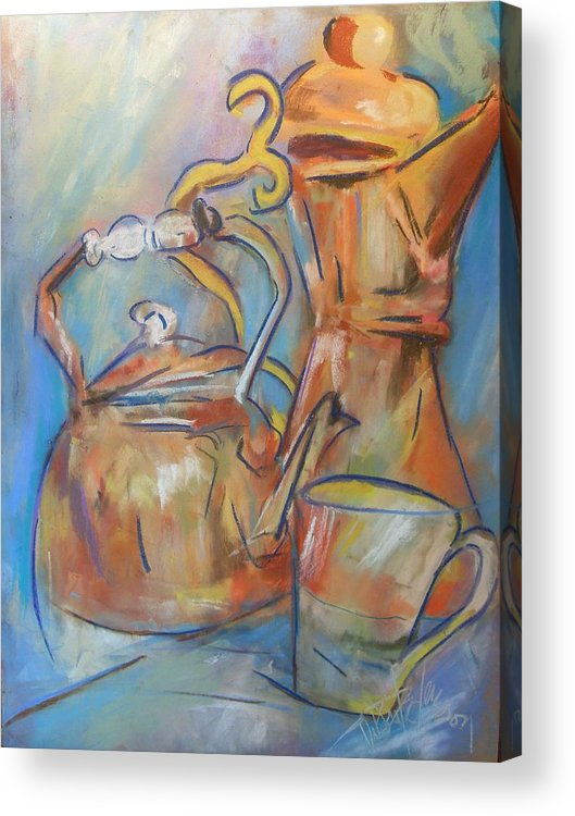 Abstract Acrylic Print featuring the painting Talkin Teapots by Debbie Anderson