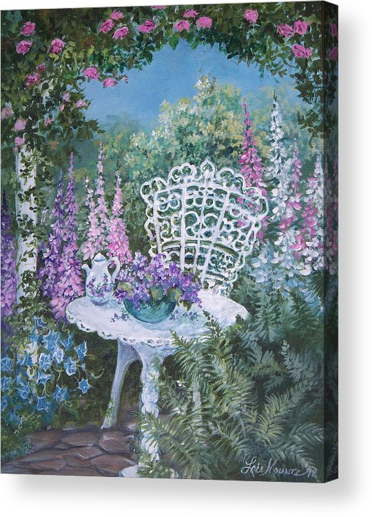 Garden;flowers;teapot;ornamental;roses; Acrylic Print featuring the painting Tea Time In The Garden by Lois Mountz