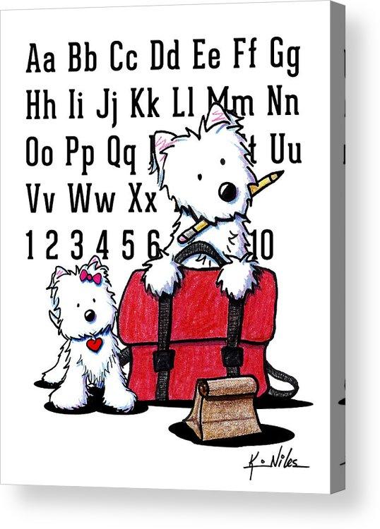 Teacher Acrylic Print featuring the drawing Teacher's Pet Westies by Kim Niles