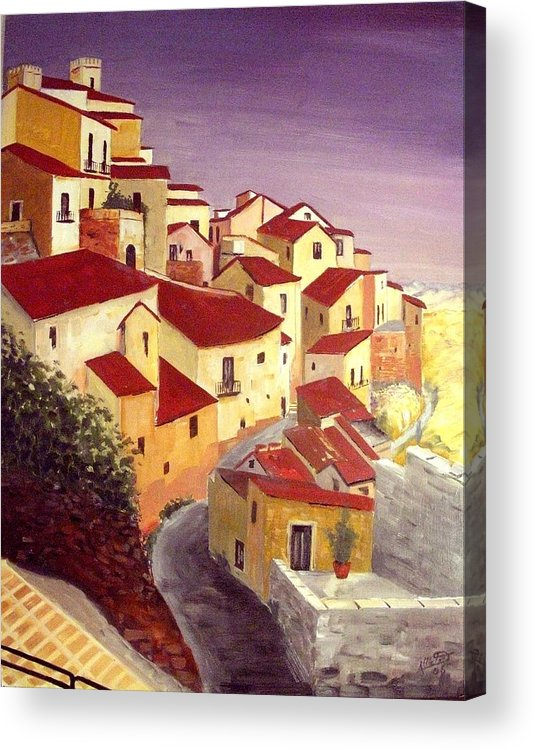 House Acrylic Print featuring the painting the beauty of Sicily by Anthony Meton