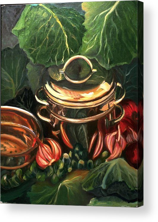 Still Life Acrylic Print featuring the painting The Cabbage Pot by Patricia Reed