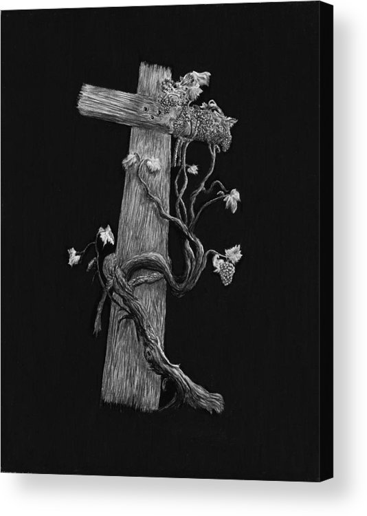 Cross Acrylic Print featuring the drawing The Cross And The Vine by Jyvonne Inman