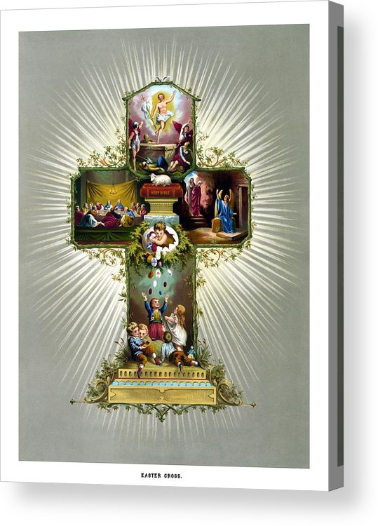 Jesus Acrylic Print featuring the painting The Easter Cross by War Is Hell Store