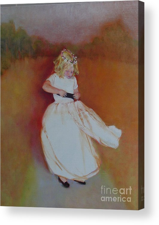 Contemporary Portrait Acrylic Print featuring the painting The Flower Girl Copyrighted by Kathleen Hoekstra