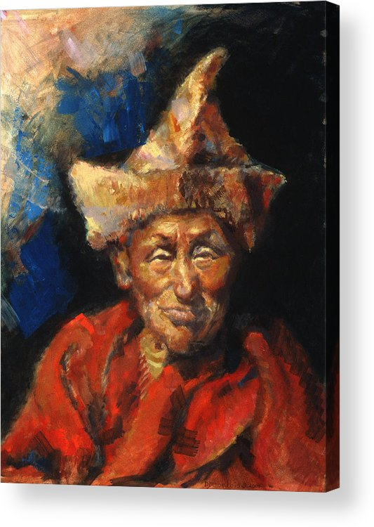 Oil Paintings Acrylic Print featuring the painting The Laughing Monk by Ellen Dreibelbis