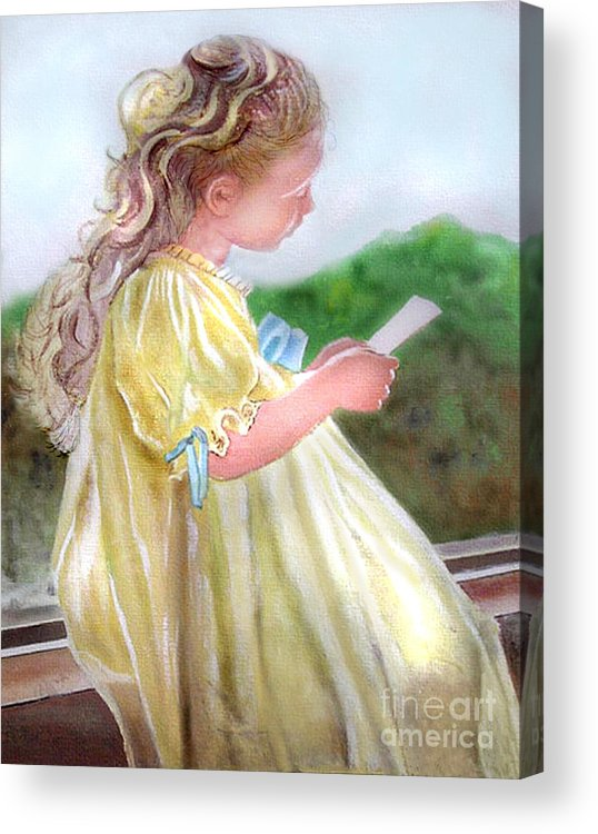 Girl Acrylic Print featuring the painting The Letter by Lamarr Kramer