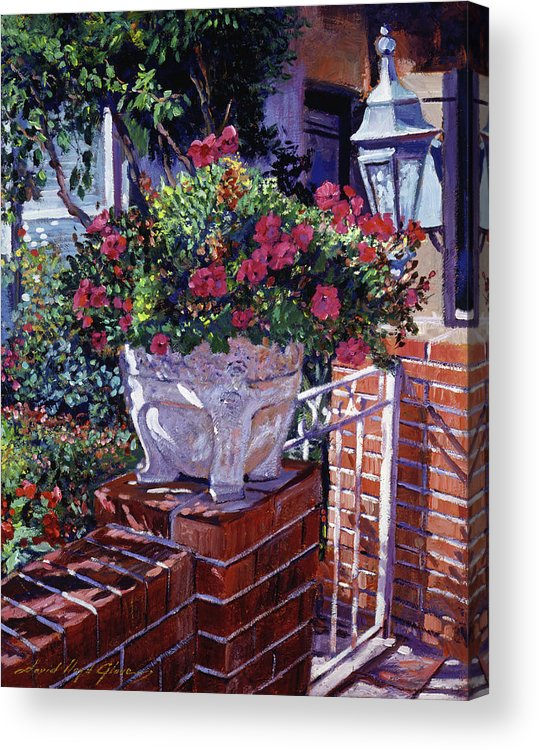 Flowers Acrylic Print featuring the painting The Ornamental Floral Gate by David Lloyd Glover
