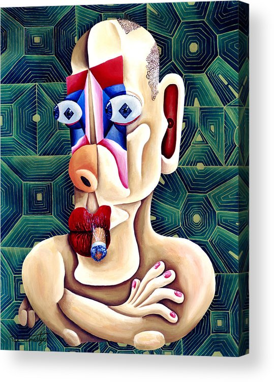 Pop Art Acrylic Print featuring the painting The Philosopher by Tak Salmastyan