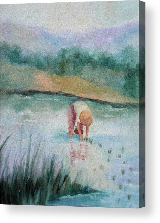 Figurative Acrylic Print featuring the painting The Rice Planter by Ginger Concepcion