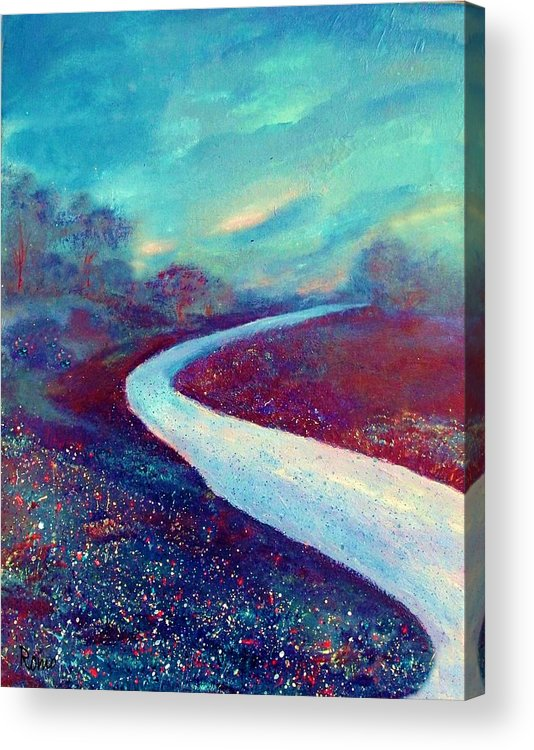 Landscape Acrylic Print featuring the painting The Road - New Beginnings by Robin Monroe