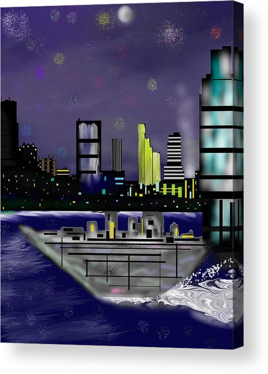 Cityscapes Acrylic Print featuring the digital art The Sky Is The Limit by Abel Padilla