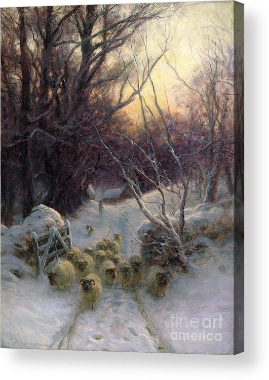 Winter Acrylic Print featuring the painting The Sun Had Closed The Winter Day by Joseph Farquharson