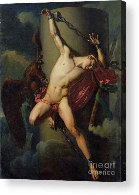 The Torture Of Prometheus Acrylic Print featuring the painting The Torture Of Prometheus by Jean-Louis-Cesar Lair