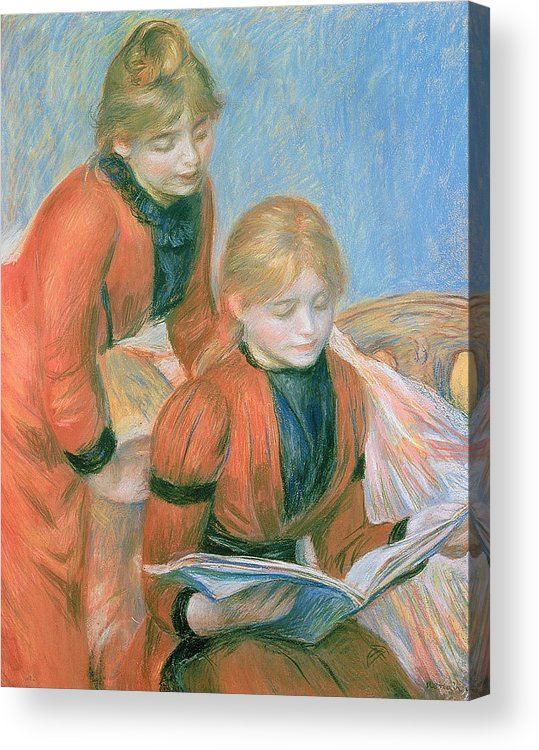 The Acrylic Print featuring the pastel The Two Sisters by Pierre Auguste Renoir