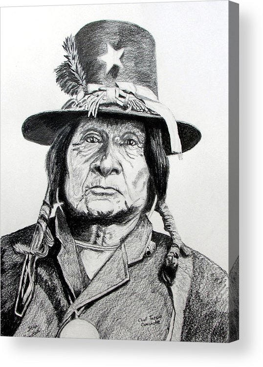 Indian Acrylic Print featuring the drawing Tosawi Comanche Chief by Stan Hamilton