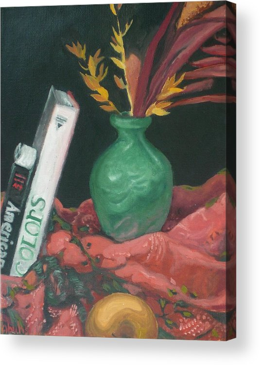 Still Life Acrylic Print featuring the painting Two Books With Green Vase by Aleksandra Buha
