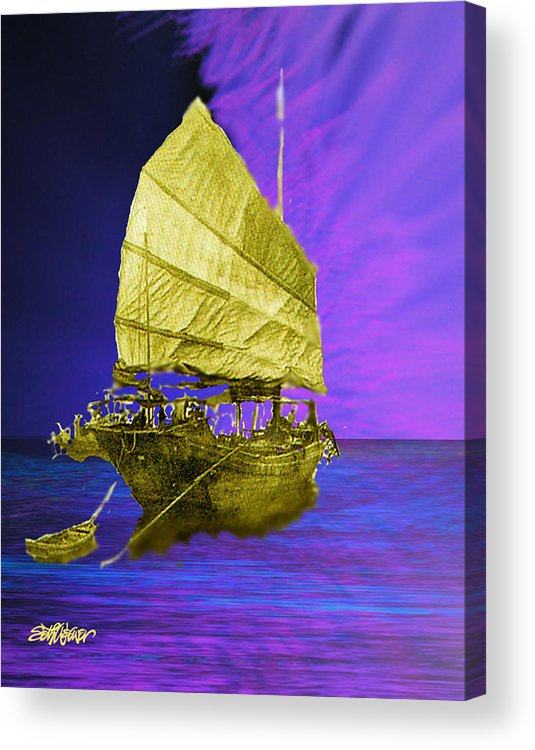 Nautical Acrylic Print featuring the digital art Under Golden Sails by Seth Weaver