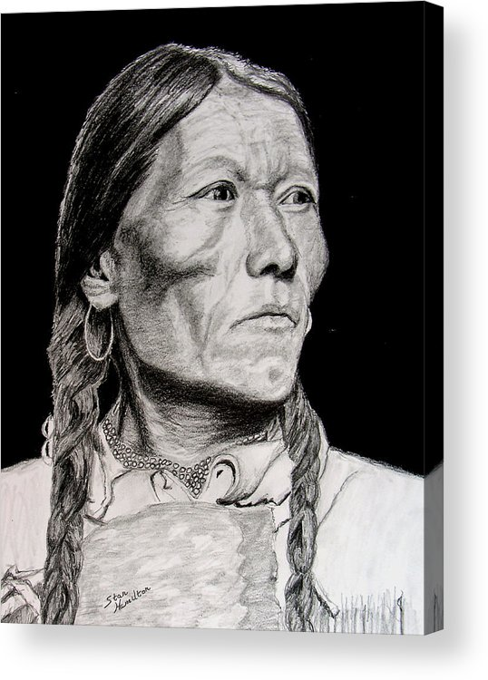 Indian Acrylic Print featuring the drawing Unknown Indian Vii by Stan Hamilton