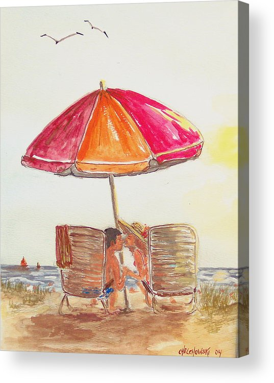 Vacation Kiss Beach Ocean Umbrella Chairs Man Woman Relaxing Acrylic Print featuring the painting Vacation by Miroslaw Chelchowski