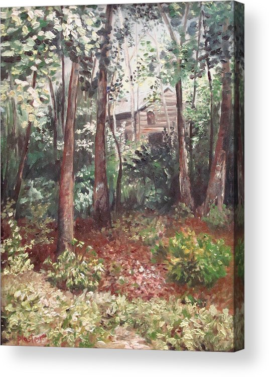 Landscape Acrylic Print featuring the painting Watauga Cabin by Scott Plaster