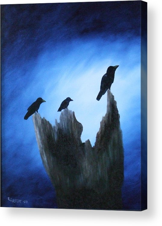 Birds Acrylic Print featuring the painting Watching For Company by Rebecca Fitchett