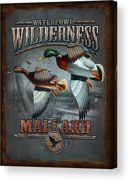 Bruce Miller Acrylic Print featuring the painting Wilderness Mallard by JQ Licensing