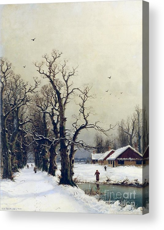Winter Acrylic Print featuring the painting Winter Scene by Nils Hans Christiansen