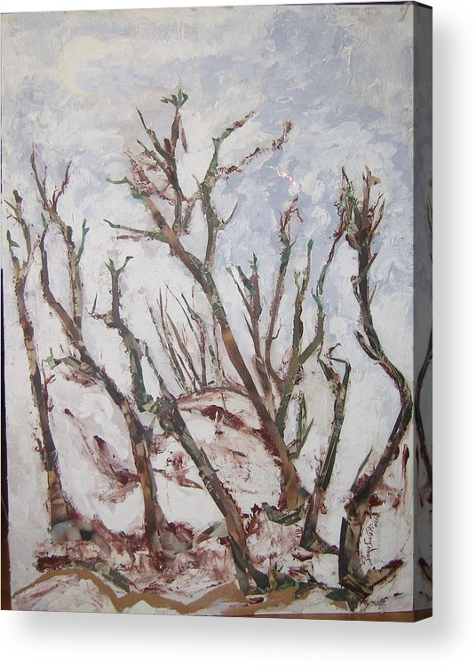 Trees Acrylic Print featuring the painting Winter Trees by Helene Champaloux-Saraswati