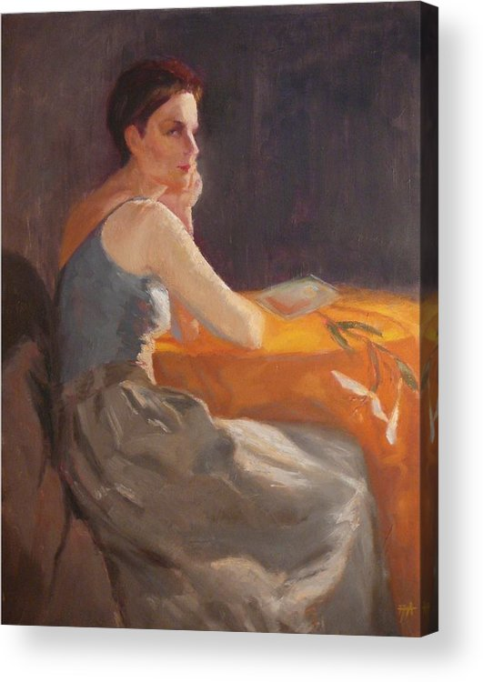 Young Woman Dressed In Modern Outfit Seated At A Table On Which A Single Stem Of White Lily Lies. Acrylic Print featuring the painting Sold Woman With Lily by Irena Jablonski