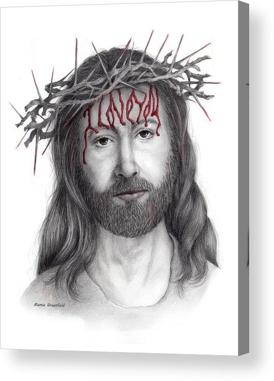 Jesus Christ Acrylic Print featuring the drawing Written In Red by Mamie Greenfield