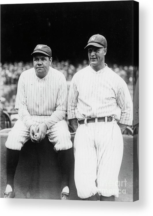 American League Baseball Acrylic Print featuring the photograph Babe Ruth Lou Gehrig Yankee Stadium by Transcendental Graphics