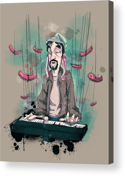 Tom Green Acrylic Print featuring the drawing Daddy Would You Like Some Sausage by Ludwig Van Bacon