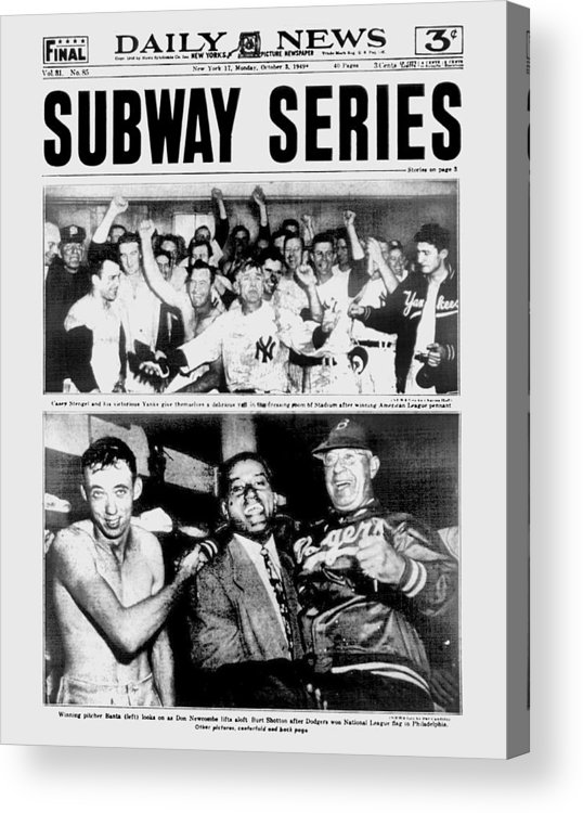 American League Baseball Acrylic Print featuring the photograph Daily News Front Page October 3, 1948 by New York Daily News Archive