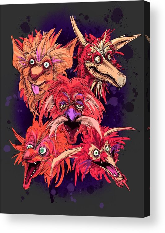 Fire Gang Acrylic Print featuring the drawing Fire Gang by Ludwig Van Bacon