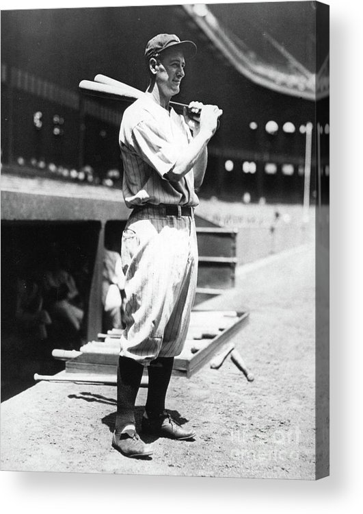 People Acrylic Print featuring the photograph Lou Gehrig Before The Game by Transcendental Graphics