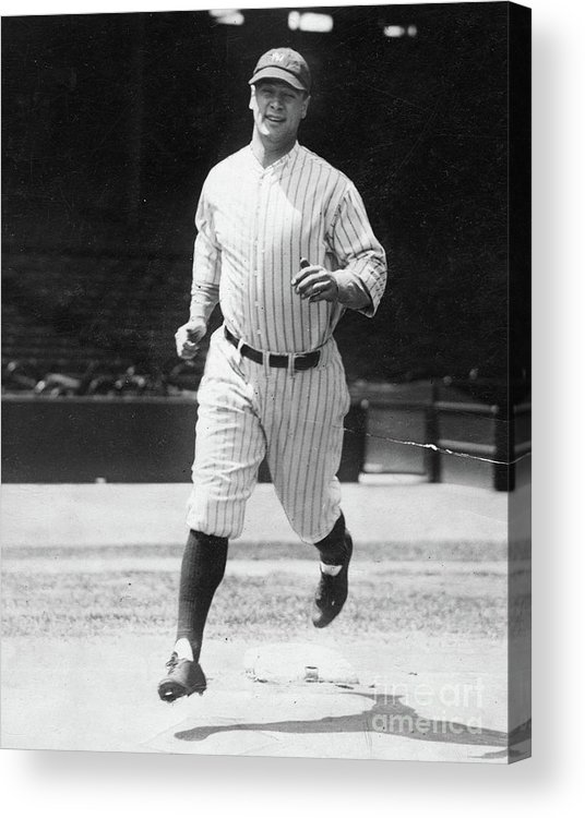 People Acrylic Print featuring the photograph Lou Gehrig Working Out by Transcendental Graphics