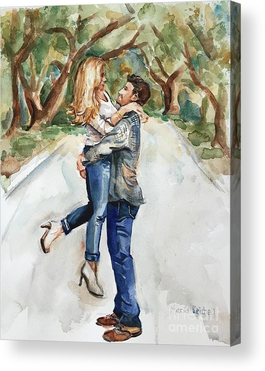 Engaged Acrylic Print featuring the painting Marry Me by Maria Reichert