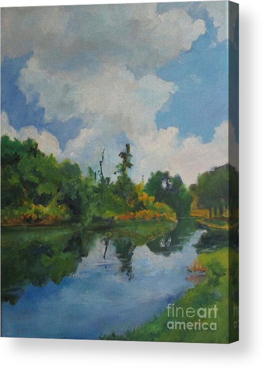 Barbara Moak Acrylic Print featuring the painting Waterway At Millennium Garden by Barbara Moak