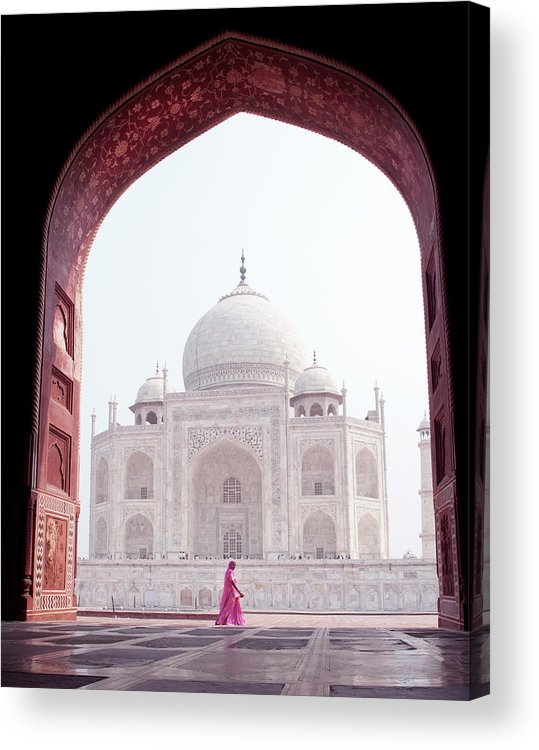 Arch Acrylic Print featuring the photograph Woman In Pink At The Taj Mahal by Shanna Baker
