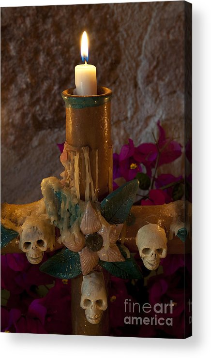 San Miguel De Allende Acrylic Print featuring the photograph Candle On Day Of Dead Altar by John Shaw